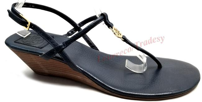 Item - Navy Emmy Demi-wedge Thong with Gold Tone Logo Retail Sandals Size US 10.5 Regular (M, B)