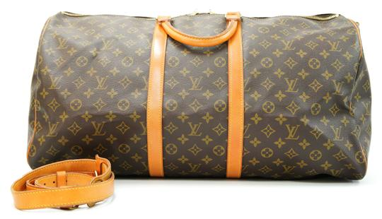 Louis Vuitton 55 Lv Duffle Keepall Bandouliere Brown Travel Bag Image 1