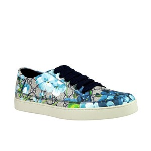 Gucci Blue Bloom Flower Print Supreme Gg Canvas Sneaker 407343 8470 Shoes