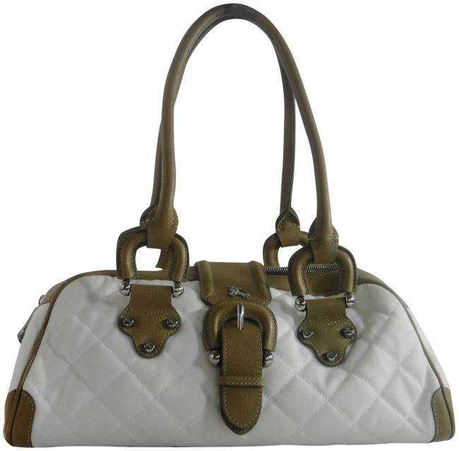 Item - Quilted Medium Bowling Shoulder H White Canvas & Leather Tote