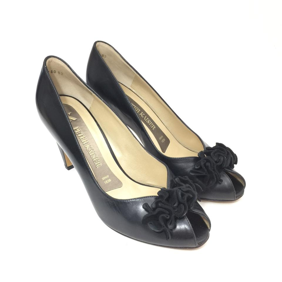 info for bfa0f 774a8 Peter Kaiser Black W Leather Peep W/ Suede Ruffle Pumps Size US 5.5 Regular  (M, B) 79% off retail