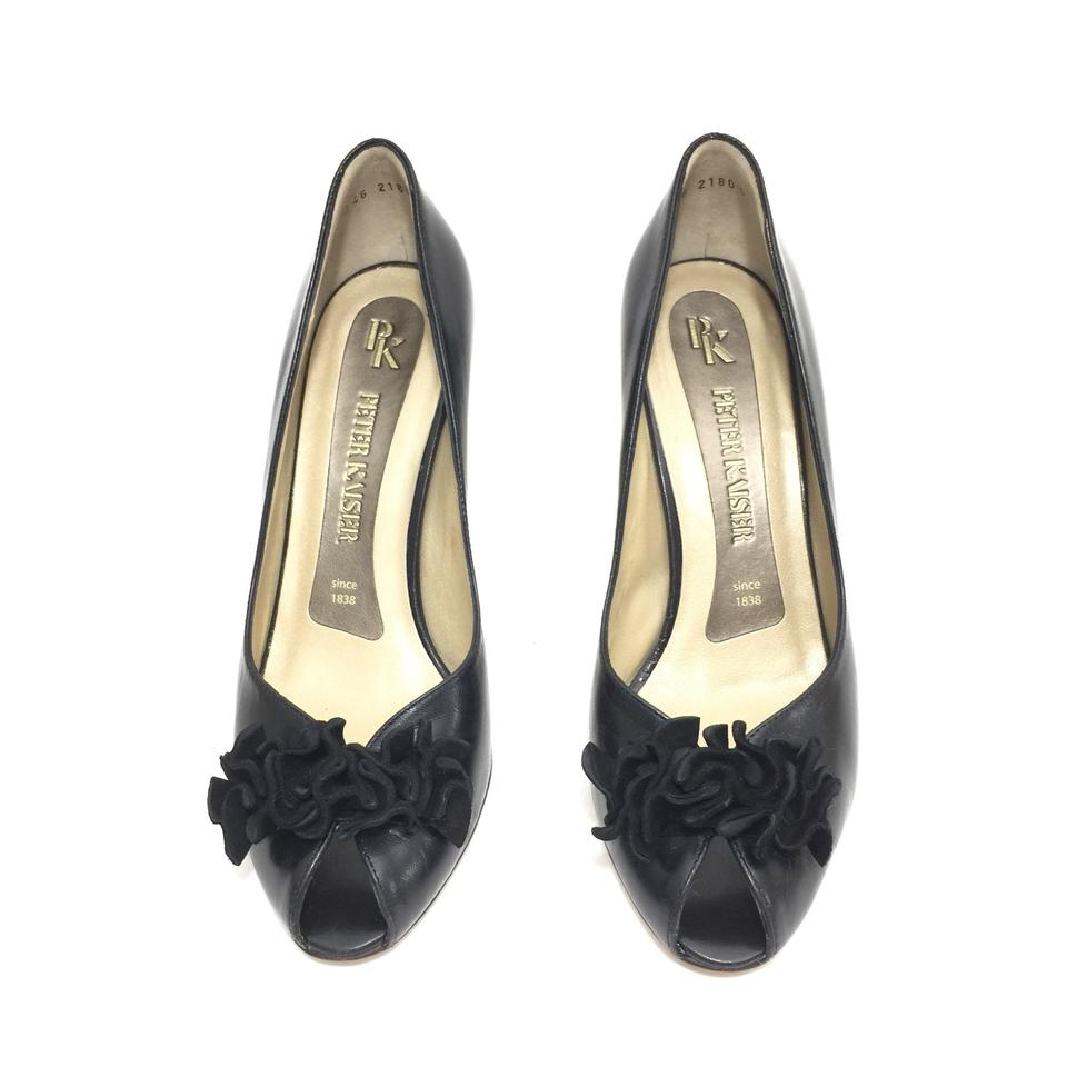 info for 13ff0 dee0c Peter Kaiser Black W Leather Peep W/ Suede Ruffle Pumps Size US 5.5 Regular  (M, B) 79% off retail