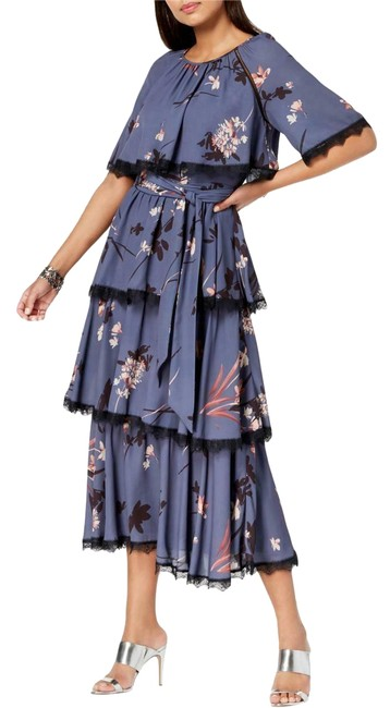 Item - Blue Les Filles Womens Floral Print Tiered Capelet (8) Mid-length Casual Maxi Dress Size 8 (M)