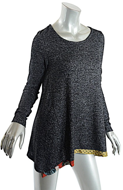 Item - Tweed Polyester Blend A Line Tunic Black White Multi Color Sweater