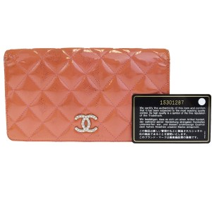 Chanel CHANEL CC Logos Quilted Long Bifold Wallet Purse Patent Leather