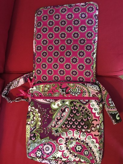 Vera Bradley Laptop Tote in Brown, White, Pink and Green Image 3