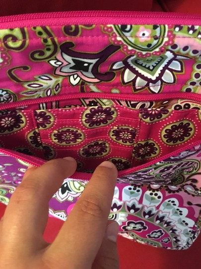 Vera Bradley Laptop Tote in Brown, White, Pink and Green Image 4