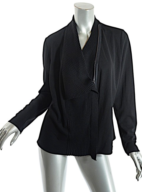 Item - Black Jersey Poly Wool Blend Rib Knit 2 Way Zip Jacket Size 12 (L)
