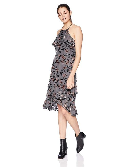 Item - Grey Les Filles Women's Velvet Burnout Floral Chronoarc Mid-length Short Casual Dress Size 4 (S)
