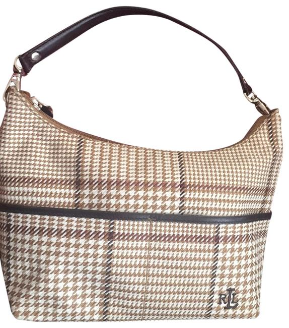 Item - Monogram Brown Tan White Houndstooth Pattern Canvas with Leather Trim Baguette