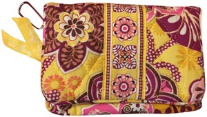 Vera Bradley Wallet Yellow Wallet Wristlet in Gold and Pink