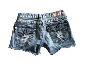 True Religion Cut Off Shorts Distressed Denim