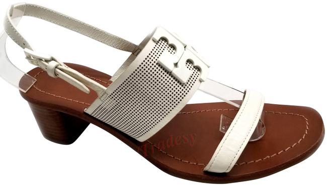 Item - White Lowell Perforated Leather Sandals Size US 7.5 Regular (M, B)