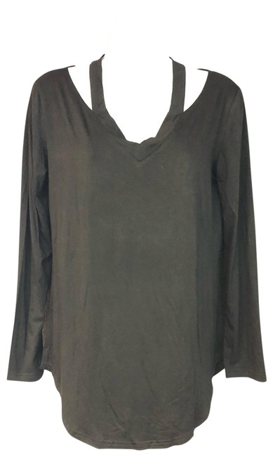 Amaryllis Black Cut Out Shoulder Modal Tee M Blouse Size 8 (M) Amaryllis Black Cut Out Shoulder Modal Tee M Blouse Size 8 (M) Image 1