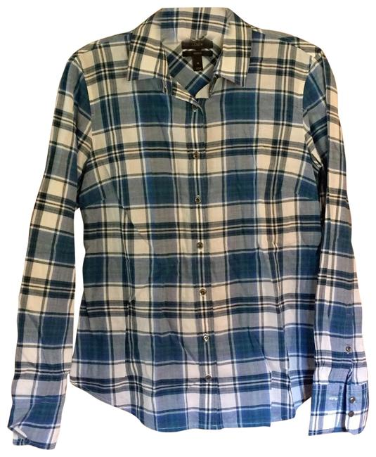 Item - Blue Plaid The Perfect Shirt Button-down Top Size 4 (S)