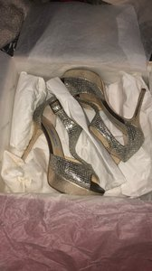 Jimmy Choo Silver Glitter Ankle Strap Sandals Pumps Size US 5.5 Regular (M, B)