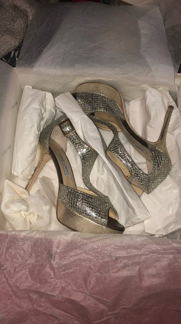 Item - Silver Glitter Ankle Strap Sandals Pumps Size US 5.5 Regular (M, B)