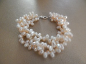 Sterling Silver Rice Freshwater Pearl Clasp White Pink Triple Bracelet
