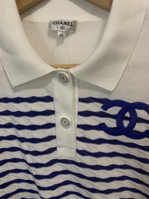 Chanel Top White and Blue Stripes Image 1