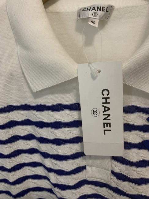 Chanel Top White and Blue Stripes Image 2