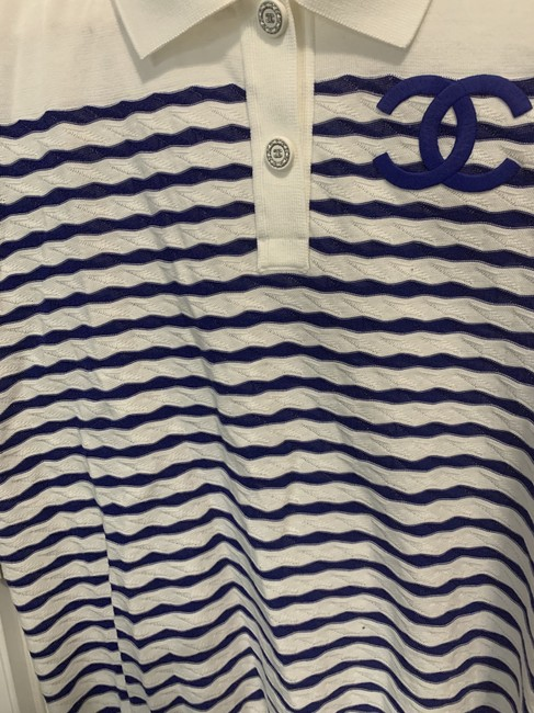 Chanel Top White and Blue Stripes Image 4