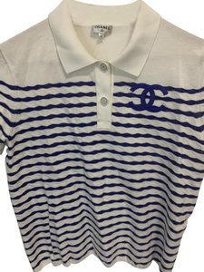 Chanel Top White and Blue Stripes