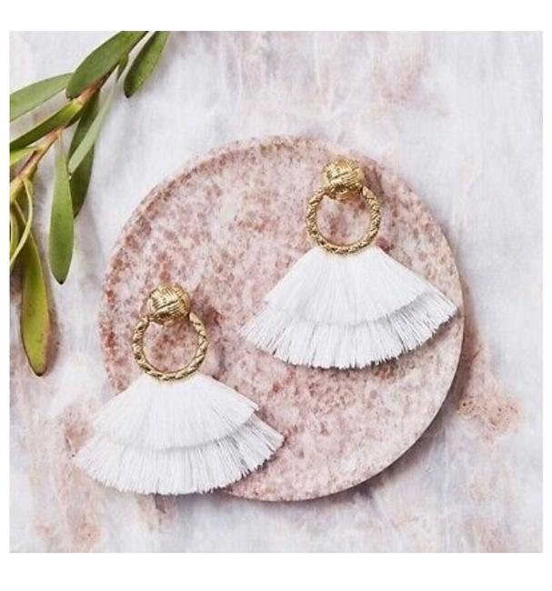 Item - Yellow Gold and Orchid White Loop Fringe Earrings