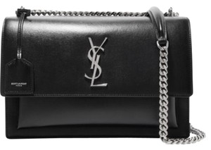 Saint Laurent Large Ysl Sunset Black Shoulder Bag
