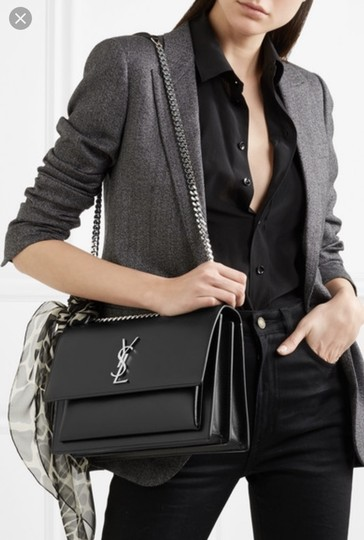 Saint Laurent Large Ysl Sunset Black Shoulder Bag Image 1