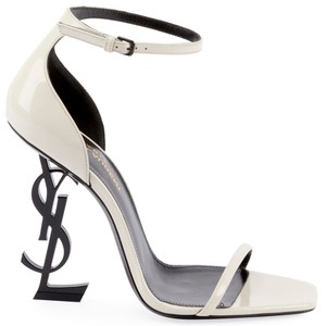 Saint Laurent Made In Italy Ankle Strap Ysl Logo Heel Patent Leather Open Toe White & Black Sandals