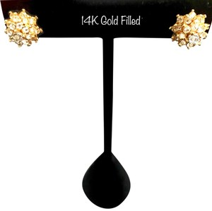 1b0c5aa901d Unique Vintage 14K GOLD FILLED CZ/DIAMOND FLOWER STUD EARRINGS -  recommended img