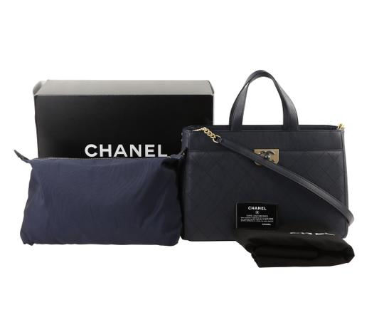 Chanel Calfskin Leather Gold Hardware Tote in Blue Image 11