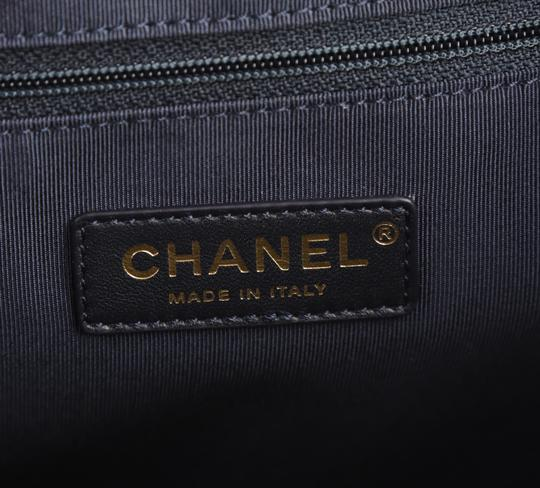 Chanel Calfskin Leather Gold Hardware Tote in Blue Image 8