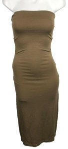 Tan Maxi Dress by Plein Sud Strapless Ruched Bodycon