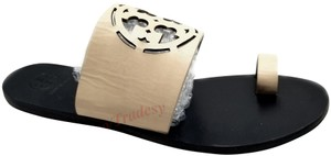 Tory Burch Lacer Cut Logo Made In Brazil Ivory Sandals