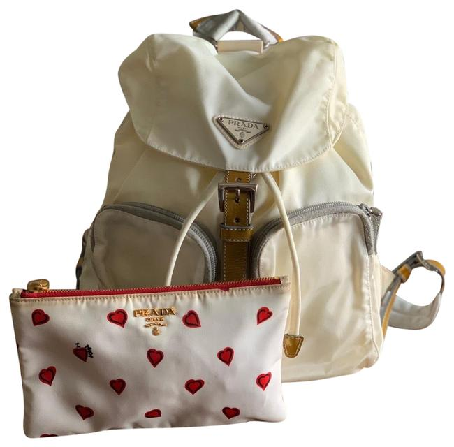Item - Cosmetic Pouch White Nylon Backpack