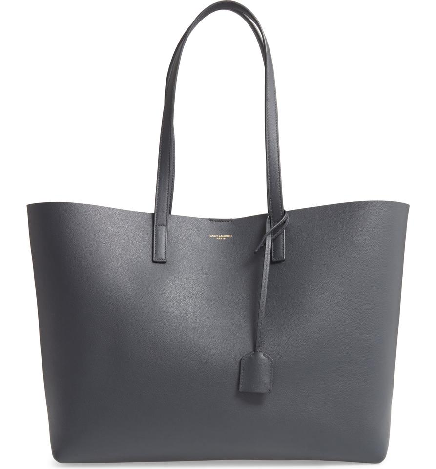 6416dcbf462 Saint Laurent Shopping with Removable Zipped Pouch Dark Smog Leather ...