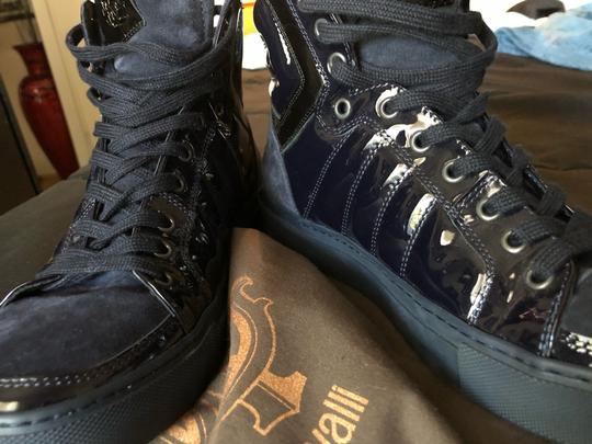 Roberto Cavalli navy suede and patent leather Athletic Image 4