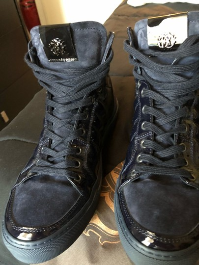 Roberto Cavalli navy suede and patent leather Athletic Image 6