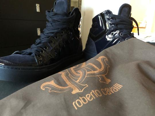 Roberto Cavalli navy suede and patent leather Athletic Image 7
