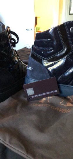 Roberto Cavalli navy suede and patent leather Athletic Image 8
