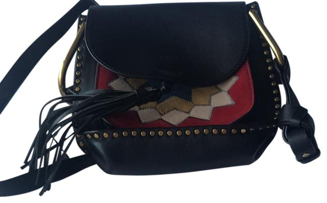 Item - Hudson Small Suede Patchwork Black Leather Cross Body Bag