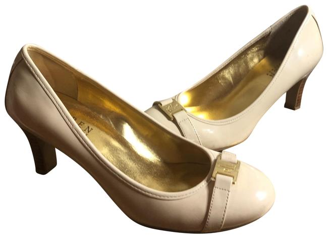 "Item - Very Light Beige/Medium Wood/Gold Nwot-sz Beige/Gold Logo Plate 2.75"" Pumps Size US 7 Regular (M, B)"