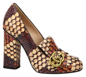 Gucci Snake Marmont Block Heel Python beige brown Pumps