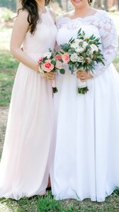 Azazie Blushing Pink Chiffon Kailyn In Traditional Bridesmaid/Mob Dress Size 6 (S)
