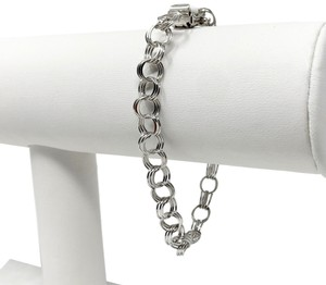 Bailey Banks Biddle NWT 14k White Gold Triple Circle Link Charm Bracelet 7 Inches