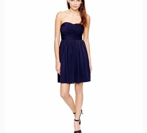 J.Crew Navy Silk Strapless Formal Bridesmaid/Mob Dress Size 0 (XS)