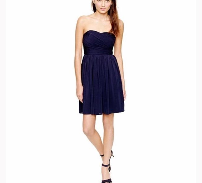 Item - Navy Silk Strapless Formal Bridesmaid/Mob Dress Size 0 (XS)