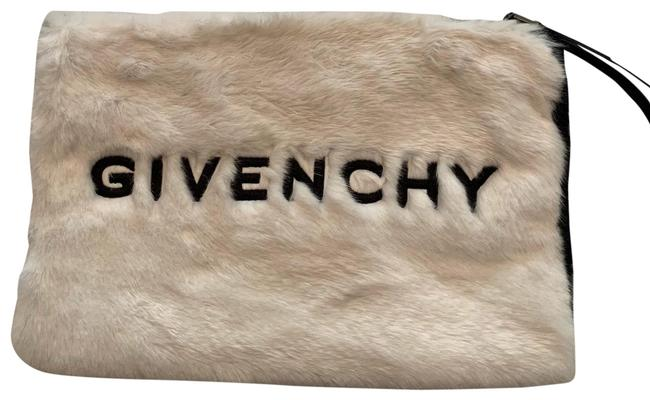 Item - Two Tone Large Gv3 Pouch Black and White Faux Fur Wristlet