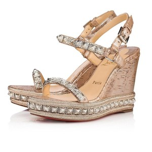 Christian Louboutin Pigalle Stiletto Classic Galeria Studded silver Wedges